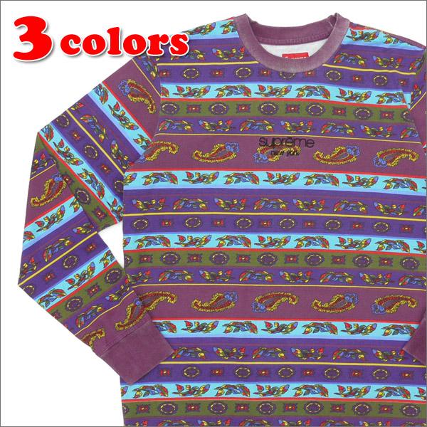 【合計15,000円(税抜)以上のお買い上げでステッカープレゼント!】 SUPREME(シュプリーム) Paisley Stripe L/S Top (長袖Tシャツ) 203-000207-049+【新品】