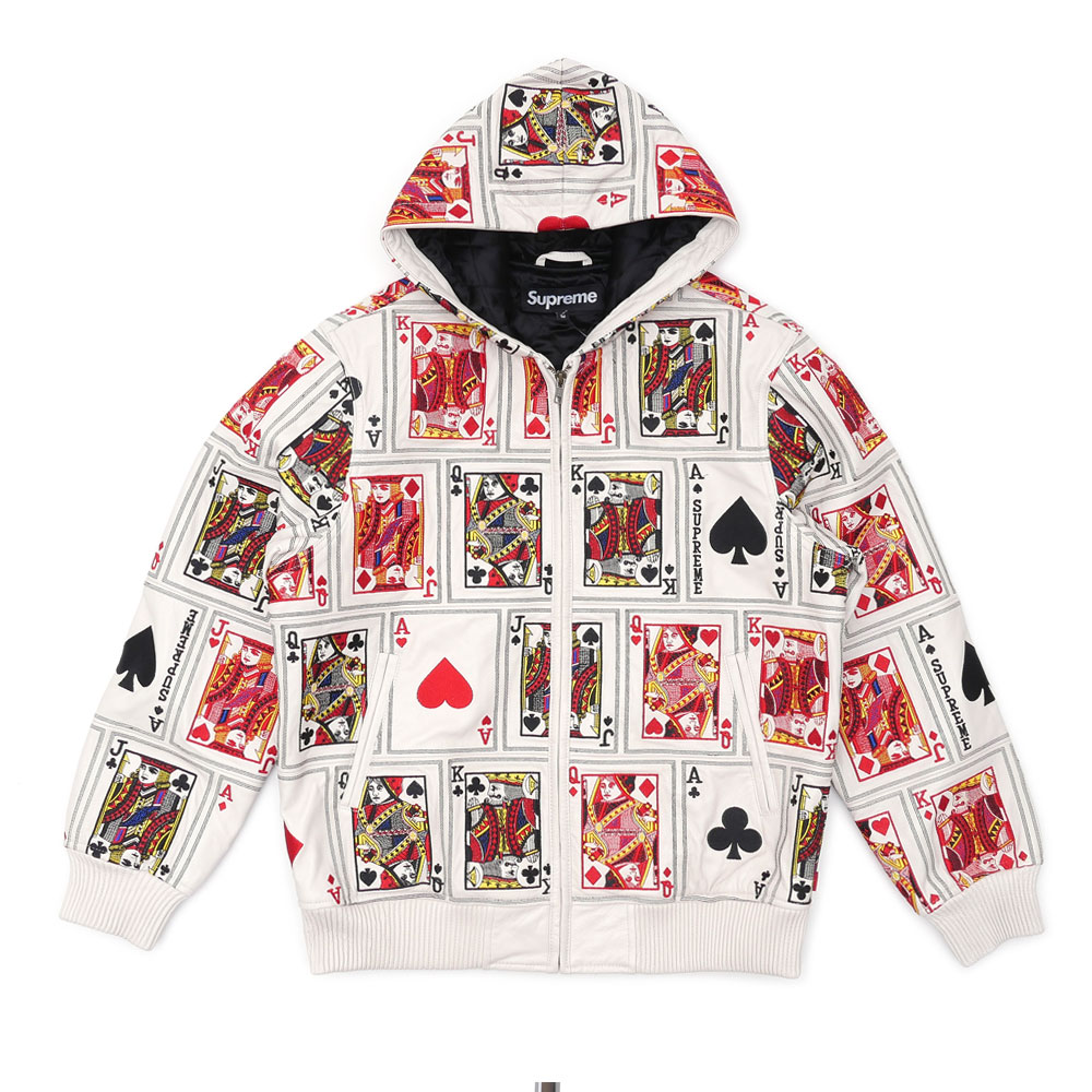 SUPREME Court Cards Hooded Leather Jacket (jacket) WHITE 230-000985-130 +