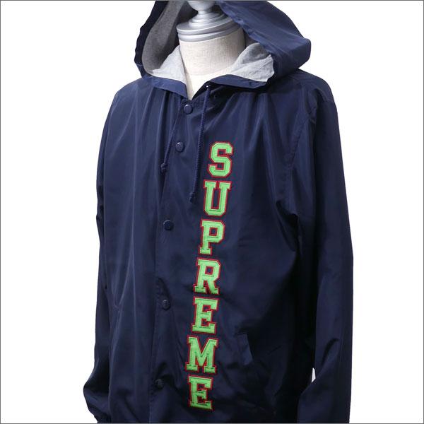 【合計15,000円(税抜)以上のお買い上げでステッカープレゼント!】 SUPREME(シュプリーム) Vertical Logo Hooded Coaches Jacket (コーチジャケット) NAVY 225-000294-047+【新品】