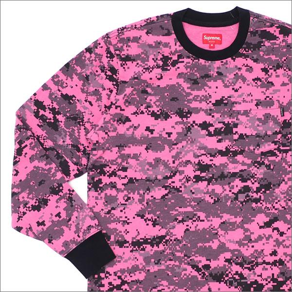 【合計15,000円(税抜)以上のお買い上げでステッカープレゼント!】 SUPREME(シュプリーム) L/S Pocket Tee (Tシャツ) PINK DIGI CAMO 202-000916-144+【新品】