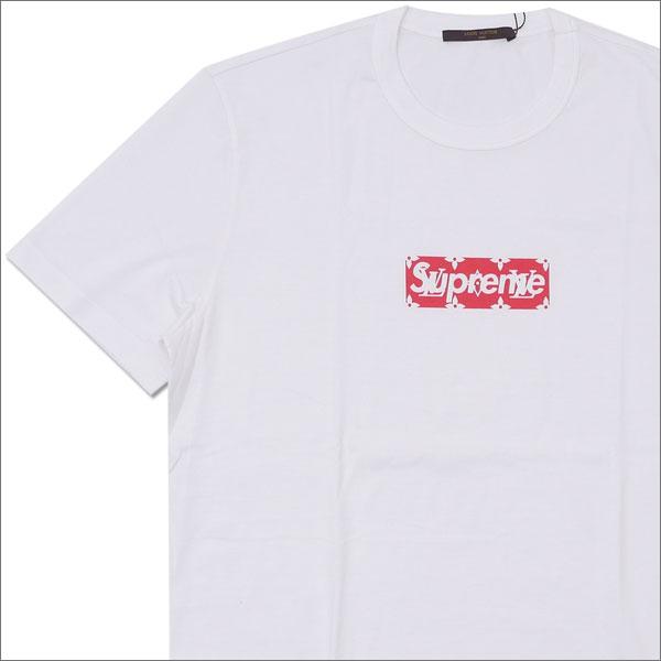 【合計15,000円(税抜)以上のお買い上げでステッカープレゼント!】 SUPREME(シュプリーム) x LOUIS VUITTON(ルイ・ヴィトン) Monogram Box Logo Tee (Tシャツ) WHITE 418-000075-030+【新品】