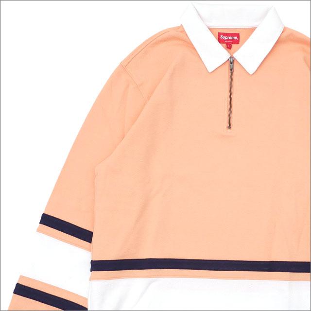 【合計15,000円(税抜)以上のお買い上げでステッカープレゼント!】 SUPREME(シュプリーム) Half Zip Rugby (ラガーシャツ) PEACH 418-000121-059+【新品】