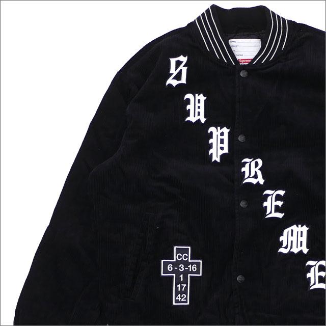 【合計15,000円(税抜)以上のお買い上げでステッカープレゼント!】 SUPREME(シュプリーム) Old English Corduroy Varsity Jacket (ジャケット) BLACK 227-000100-141+【新品】