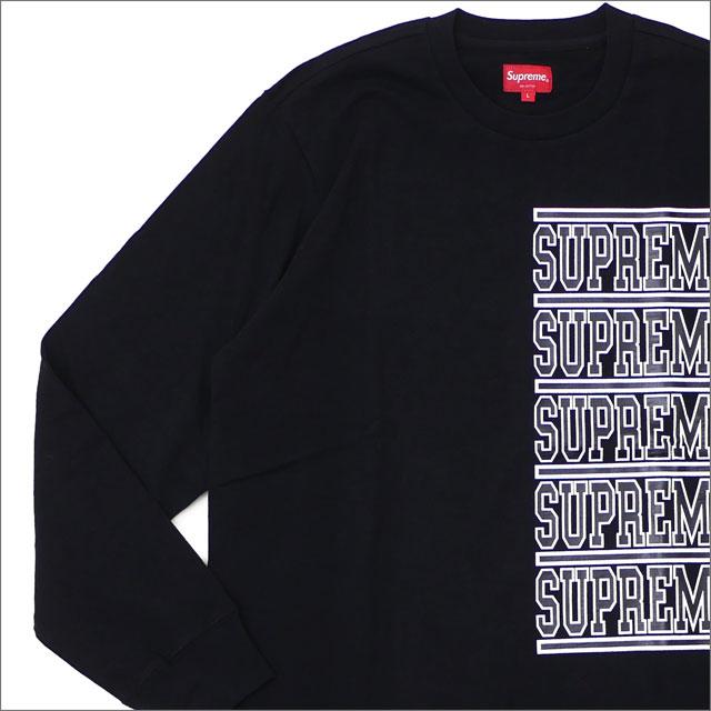 【合計15,000円(税抜)以上のお買い上げでステッカープレゼント!】 SUPREME(シュプリーム) Stacked L/S Top (長袖Tシャツ) BLACK 203-000277-141 【新品】