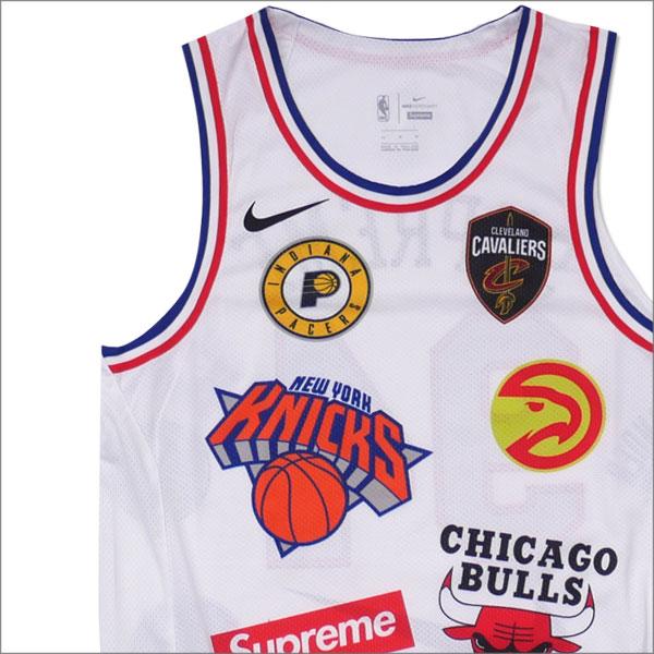 【合計15,000円(税抜)以上のお買い上げでステッカープレゼント!】 NIKE(ナイキ) x SUPREME(シュプリーム) NBA Teams Authentic Jersey (タンクトップ) WHITE 205-000150-140+【新品】