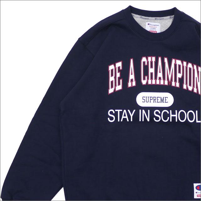 【合計15,000円(税抜)以上のお買い上げでステッカープレゼント!】 SUPREME(シュプリーム) Champion Stay In School Crewneck (スウェット) NAVY 209-000513-067+【新品】