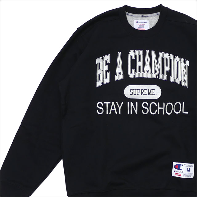 SUPREME(シュプリーム) Champion Stay In School Crewneck (スウェット) BLACK 209-000513-031+【新品】
