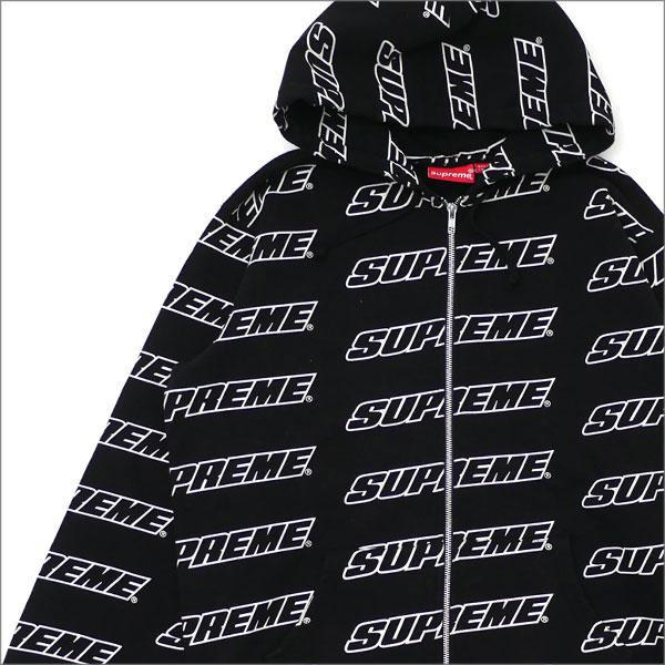 【合計15,000円(税抜)以上のお買い上げでステッカープレゼント!】 SUPREME(シュプリーム) Repeat Zip Up Hooded Sweatshirt (スウェットパーカー) BLACK 212-001019-051+【新品】