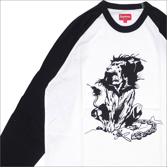 【合計15,000円(税抜)以上のお買い上げでステッカープレゼント!】 SUPREME(シュプリーム) Lion Raglan Baseball Top (七分袖Tシャツ) BLACK 203-000288-041 418-000315-031+【新品】