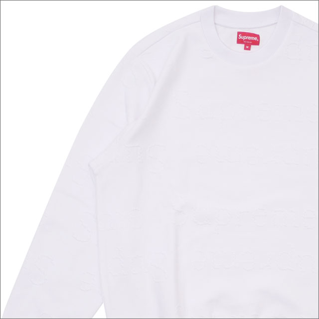 【合計15,000円(税抜)以上のお買い上げでステッカープレゼント!】 SUPREME(シュプリーム) Jacquard Logo Crewneck (スウェット) WHITE 209-000519-140+【新品】