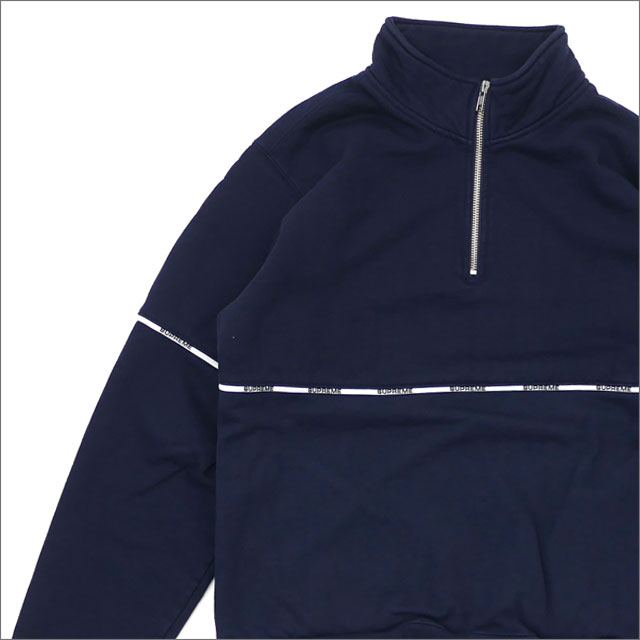 SUPREME(シュプリーム) Logo Piping Half Zip Sweatshirt (スウェット) NAVY 214-000068-137 418-000343-037+【新品】