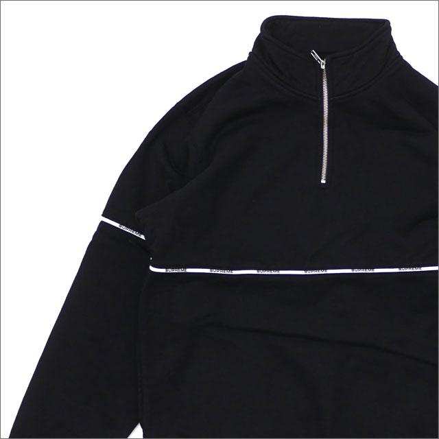 【合計15,000円(税抜)以上のお買い上げでステッカープレゼント!】 SUPREME(シュプリーム) Logo Piping Half Zip Sweatshirt (スウェット) BLACK 214-000068-141 418-000343-031+【新品】