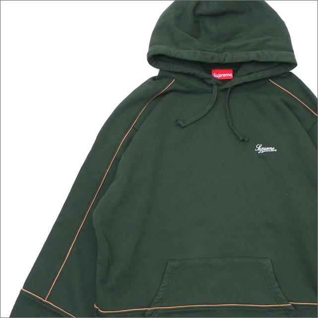 【合計15,000円(税抜)以上のお買い上げでステッカープレゼント!】 SUPREME(シュプリーム) Piping Hooded Sweatshirt (スウェットパーカー) DARK GREEN 418-000326-065+【新品】