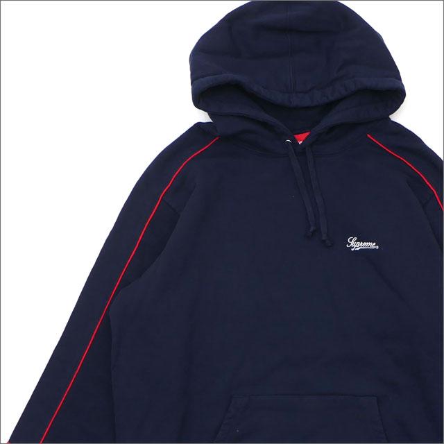 【合計15,000円(税抜)以上のお買い上げでステッカープレゼント!】 SUPREME(シュプリーム) Piping Hooded Sweatshirt (スウェットパーカー) NAVY 418-000326-057+【新品】