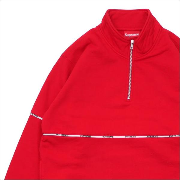 【合計15,000円(税抜)以上のお買い上げでステッカープレゼント!】 SUPREME(シュプリーム) Logo Piping Half Zip Sweatshirt (スウェット) RED 418-000343-043+【新品】