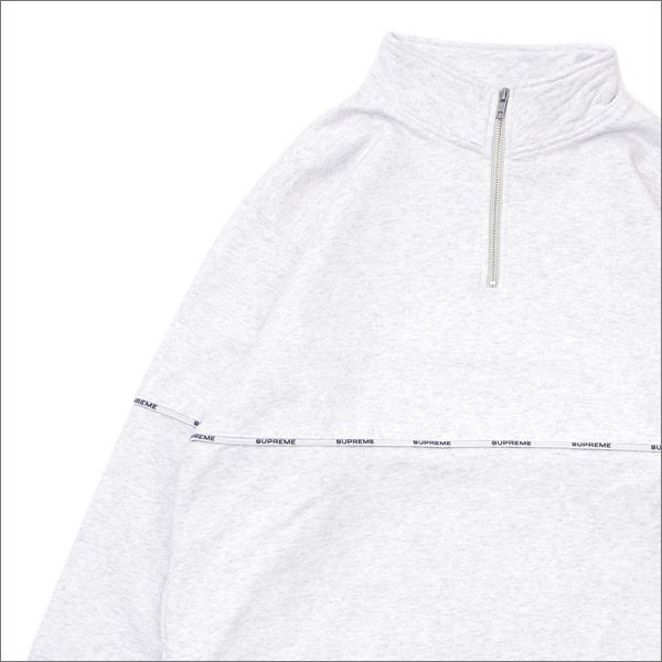 【合計15,000円(税抜)以上のお買い上げでステッカープレゼント!】 SUPREME(シュプリーム) Logo Piping Half Zip Sweatshirt (スウェット) ASH GREY 418-000343-052+【新品】