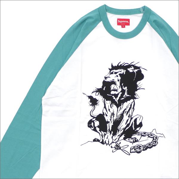 【合計15,000円(税抜)以上のお買い上げでステッカープレゼント!】 SUPREME(シュプリーム) Lion Raglan Baseball Top (七分袖Tシャツ) MINT 418-000315-034+【新品】