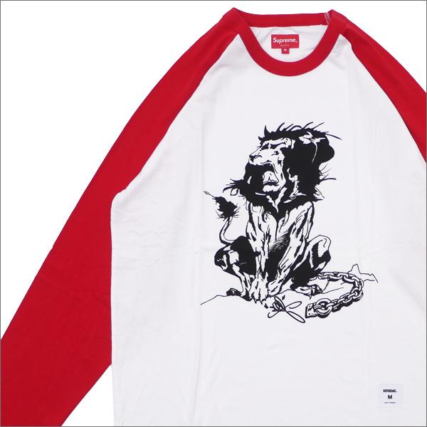 【合計15,000円(税抜)以上のお買い上げでステッカープレゼント!】 SUPREME(シュプリーム) Lion Raglan Baseball Top (七分袖Tシャツ) RED 418-000315-043+【新品】