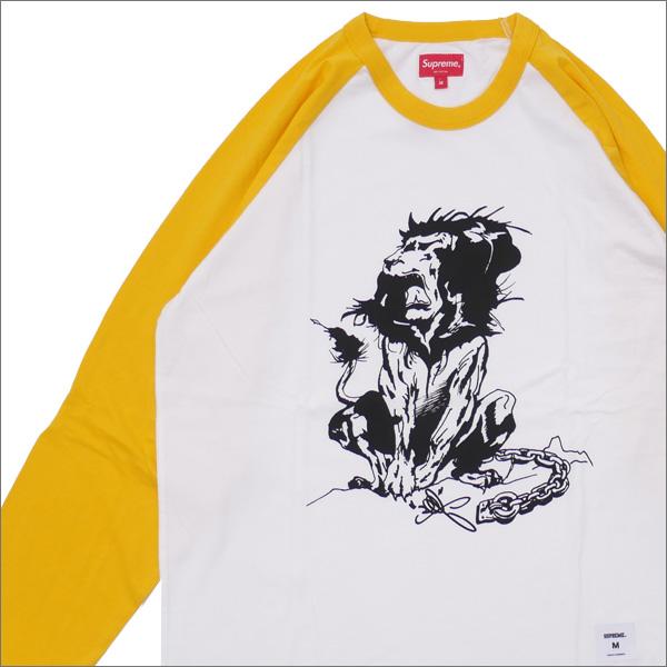 【合計15,000円(税抜)以上のお買い上げでステッカープレゼント!】 SUPREME(シュプリーム) Lion Raglan Baseball Top (七分袖Tシャツ) YELLOW 418-000315-048+【新品】