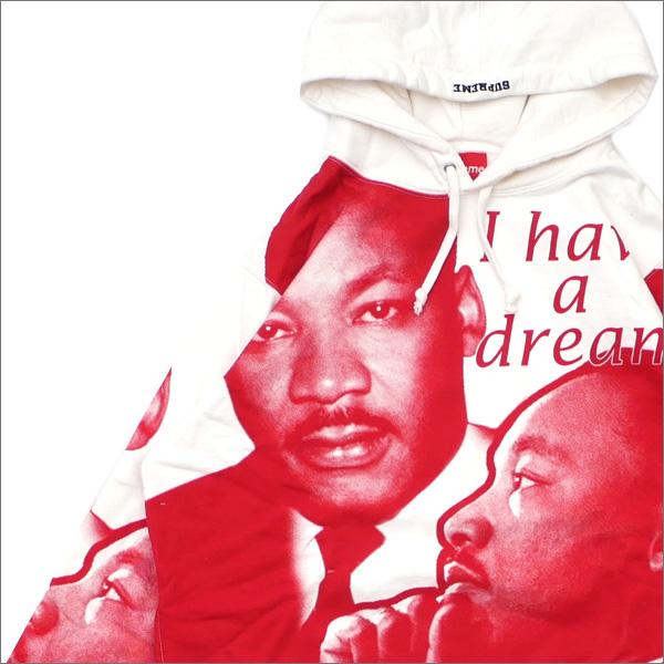 【合計15,000円(税抜)以上のお買い上げでステッカープレゼント!】 SUPREME(シュプリーム) MLK Hooded Sweatshirt (スウェットパーカー) WHITE 418-000328-040+【新品】