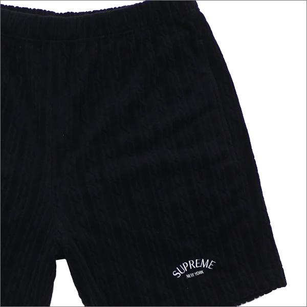 【合計15,000円(税抜)以上のお買い上げでステッカープレゼント!】 SUPREME(シュプリーム) Cable Knit Terry Short (ショーツ) BLACK 244-000769-031+【新品】