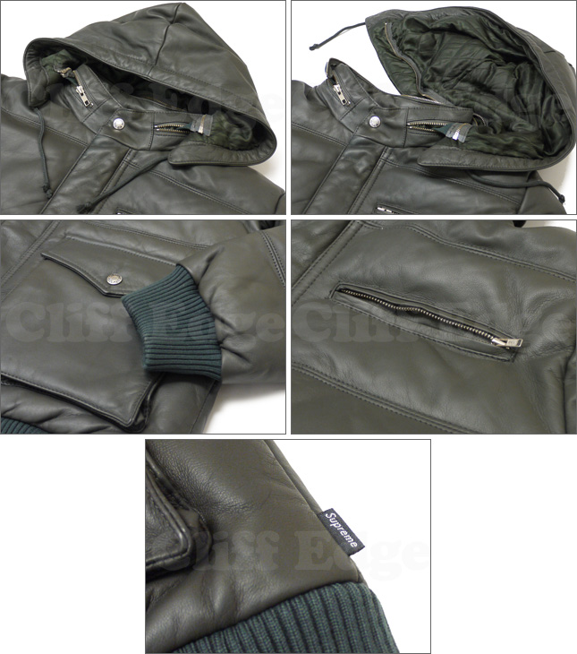 SUPREME (슈 프림) Leather Down Jacket GRAY 230-000419-052 + [☆.]