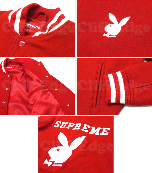 SUPREME (슈 프림) x Playboy (플레이보이) Varsity Jacket RED 227-000065-033 327-000004-043x