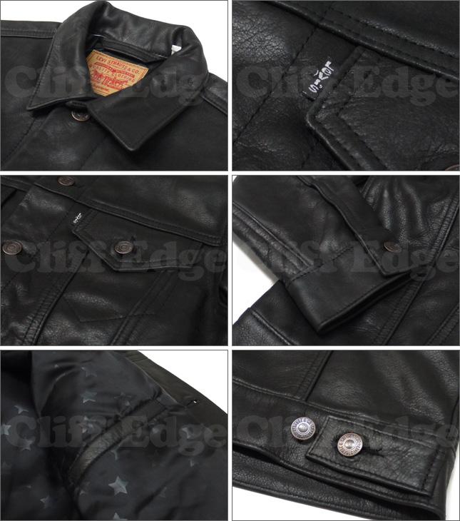 SUPREME (슈 프림) x Levi 's (리 바이스) Leather Trucker Jacket [가죽 자 켓] BLACK 230-000490-041x [☆.]