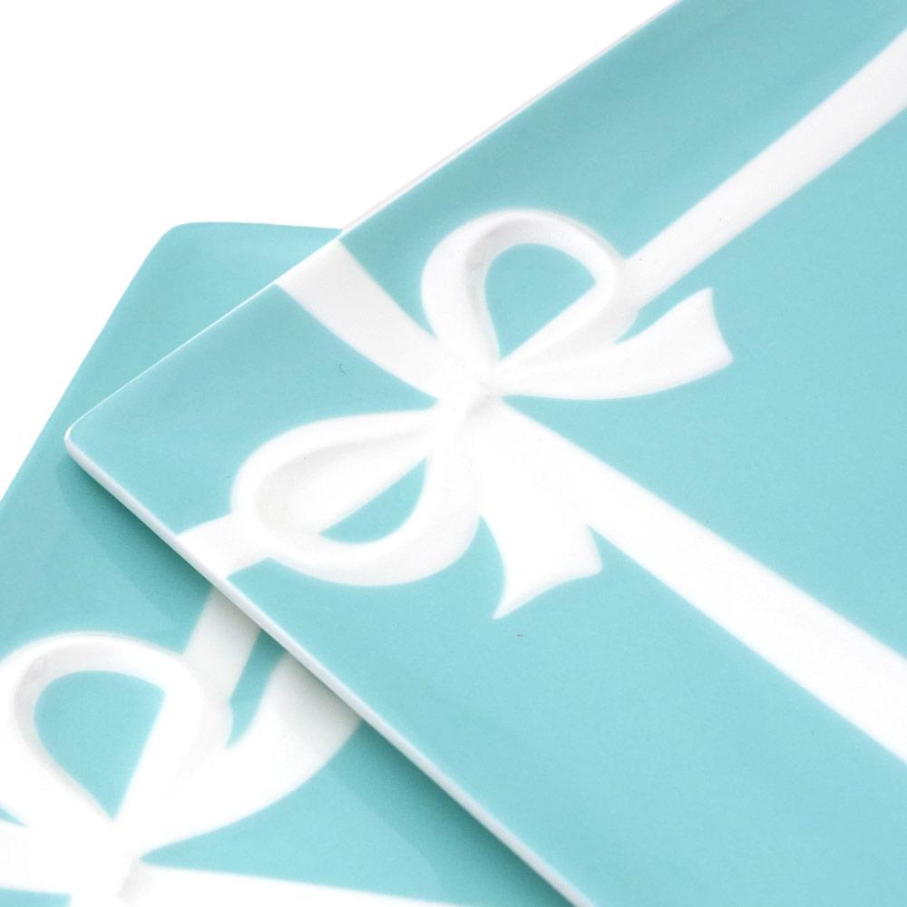TIFFANY&CO.(ティファニー) ブルー ボウ デザートプレート 2枚セット BLUE 290-004634-014+【新品】結婚祝い お祝い プレゼント バレンタイン お皿 食器 陶器 ペア ギフト 【あす楽対応】