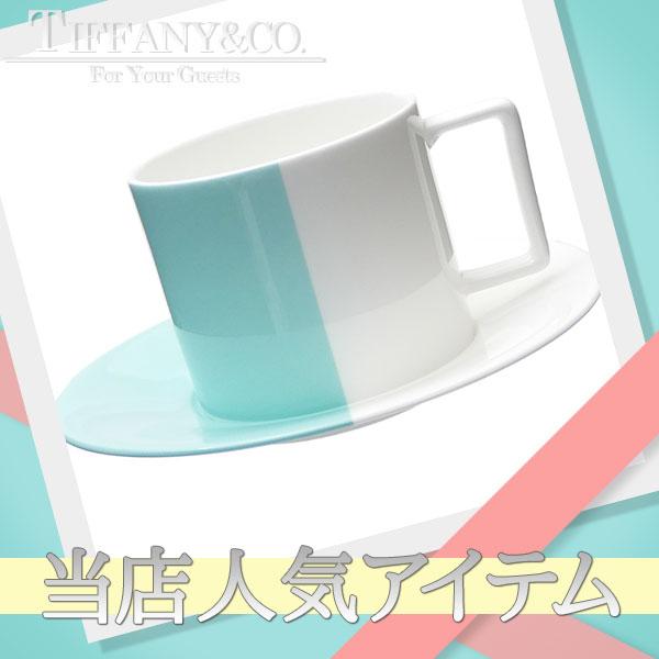 TIFFANY&CO.(ティファニー) カラーブロック エスプレッソカップ&ソーサー WHITExBLUE 290-004658-010+【新品】