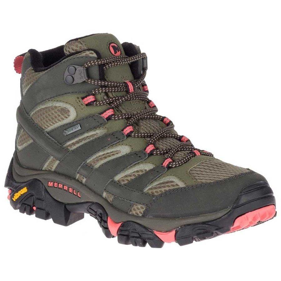 [ メレル ] Moab 2 Mid Goretex ウーマン ( Beluga / Olive ) ★ 登山靴 ・ 靴 ・ 登山 ・ アウトドアシューズ ・ 山歩き ★