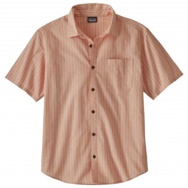 パタゴニア ◆ Organic Cotton Slub Poplin シャツ メンズ(Combed Stripe / Mellow Melon)