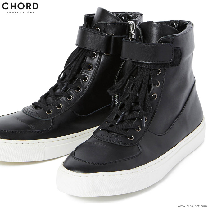 CHORD NUMBER EIGHT LEATHER ZIP SNEAKER (BLACK×WHITE) [N8M1H5-AC10] コードナンバーエイト