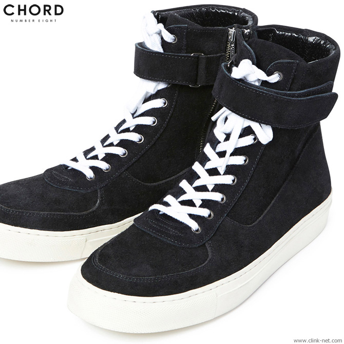 【CHORD NUMBER EIGHT】 コードナンバーエイトCHORD NUMBER EIGHT SUEDE ZIP SNEAKER (BLACK×WHITE) [N8M1H5-AC11] メンズ スニーカー