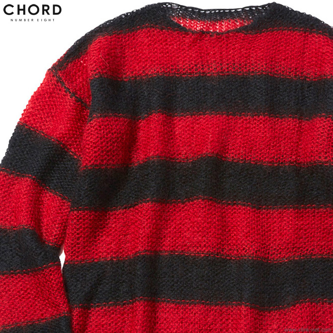【CHORD NUMBER EIGHT】 コードナンバーエイト CHORD NUMBER EIGHT MOHAIR KNIT (BLACK×RED) [N8M1K1-KN01] メンズ トップス ニット セーター ブラウン