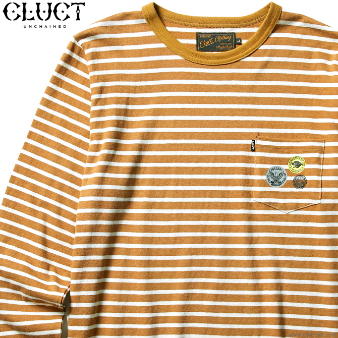 【CLUCT】 クラクト CLUCT L/S WOOL PKT CREW (CAMEL×WHITE) #02801 メンズ Tシャツ 長袖 キャメル