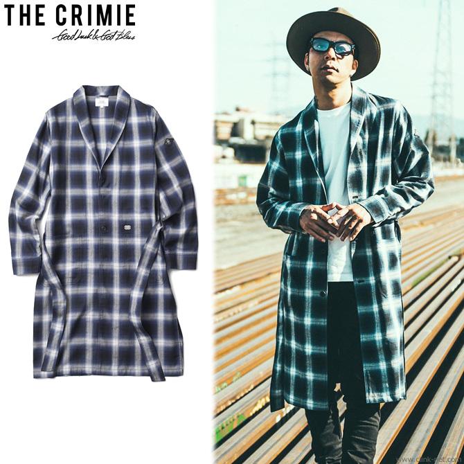 【CRIMIE/クライミー】CRIMIE CHECK LONG GOWN SHIRT (BLUE) [C1H5-SH02]