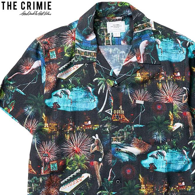 【CRIMIE】 クライミー CRIMIE LAS VEGAS ALOHA SHORT SLEEVE SHIRT (BLACK) [CR01-02L1-SS06] メンズ トップス シャツ 半袖 ブラック アロハ セットアップ