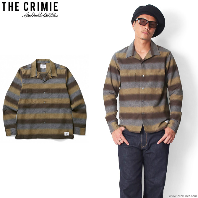 【CRIMIE/クライミー】 CRIMIE BORDER OPEN SHIRT (BROWN) [C1G5-SH12]