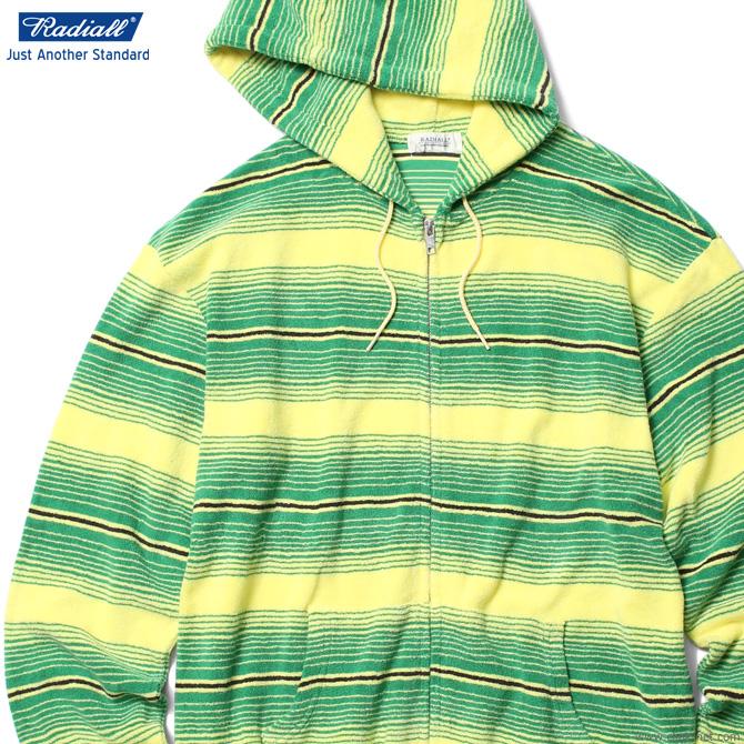 【RADIALL】 ラディアル RADIALL CACTUS - HOODIE SWEATSHIRT L/S (GREEN) メンズ トップス スウェット パーカー ジップアップ グリーン