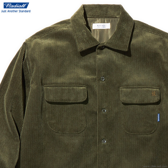 RADIALL MOTOWN - OPEN COLLARED SHIRT L/S (OLIVE) ラディアル 長袖シャツ