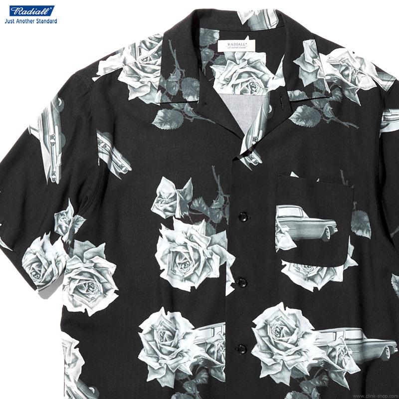【RADIALL】 ラディアル RADIALL CHEVY ROSE - OPEN COLLARED SHIRT S/S (BLACK) メンズ トップス シャツ 半袖 ブラック
