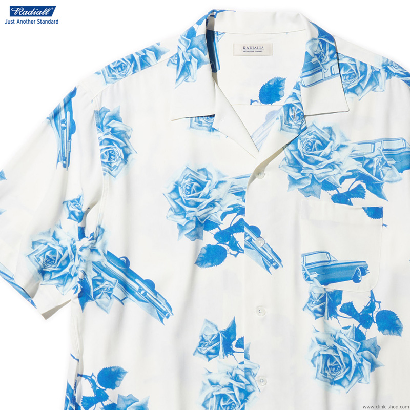 【RADIALL】 ラディアル RADIALL CHEVY ROSE - OPEN COLLARED SHIRT S/S (WHITE) メンズ トップス シャツ 半袖 ホワイト