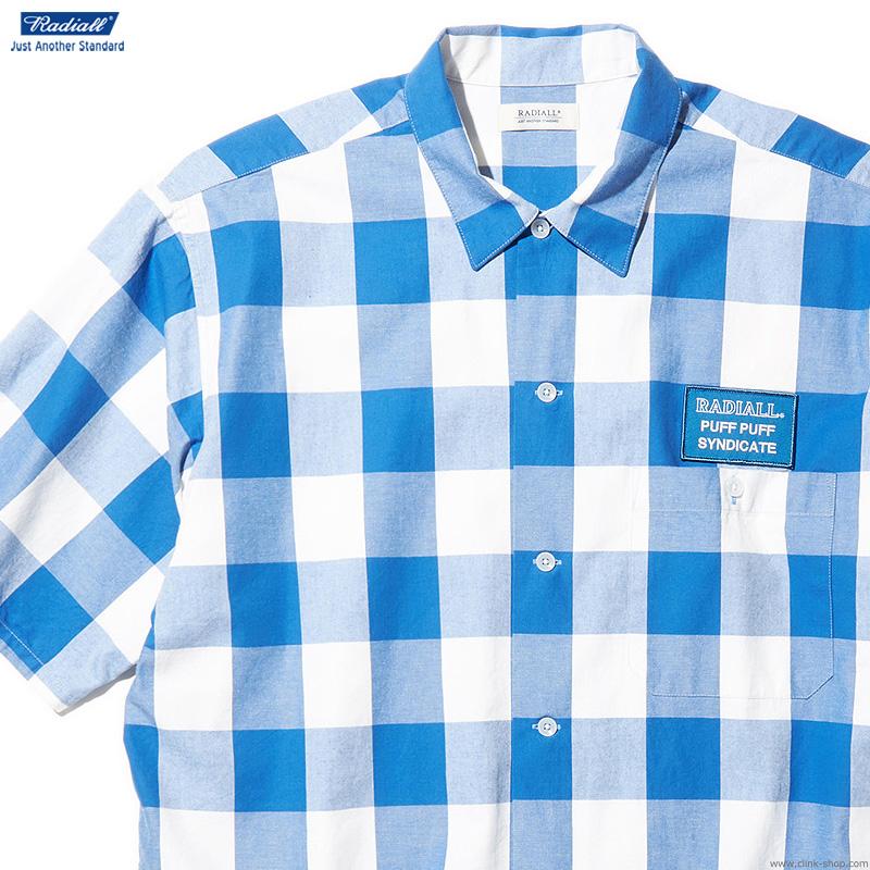 【RADIALL】 ラディアル RADIALL SYNDICATE - REGULAR COLLARED SHIRT S/S (BLUE) メンズ トップス シャツ 半袖 チェック ブルー