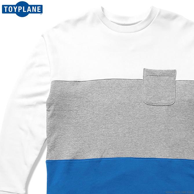 【予約/9月~10月入荷予定】TOYPLANE PANEL CREW NECK SWEAT (WHITE×GRAY×BLUE) [TP19-NSW01] トイプレーン スウェット
