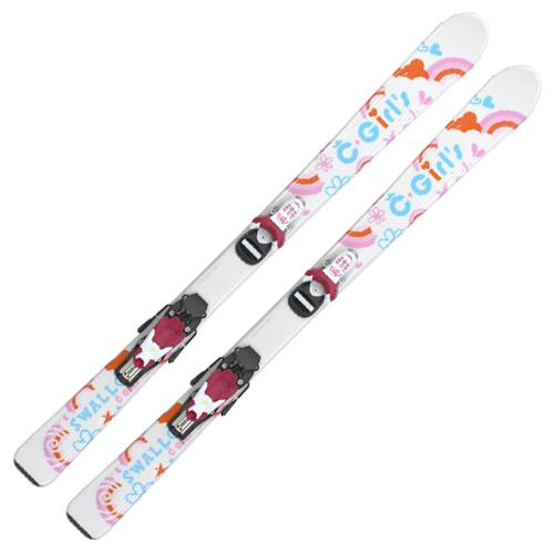【スキー板 送料無料!】SWALLOW スワロー ジュニア スキー板 C GIRL/WHITE 子供 キッズ こども 金具セット