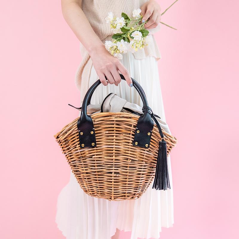 【AETHER(エーテル) 】天然アラログ製かごバッグ レディース「マノン」 ハンドバッグ カゴ ベージュ キャメル ブラック かわいい人気 送料無料 誕生日プレゼント 女性 本革 本皮 ファッション 人気 おすすめ 大人可愛いレザーブランド