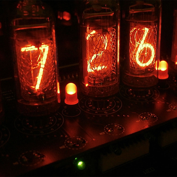 【メーカー直送品】ニキシー管 時計 ME-1L(IN-14)【ニキシー管時計 LED 置き時計 アンティーク おすすめ 置時計 真空管 テイスト かわいい 可愛い 男前 ギフト 雑貨 おしゃれ レトロ インテリア プレゼント 彼氏 新生活】