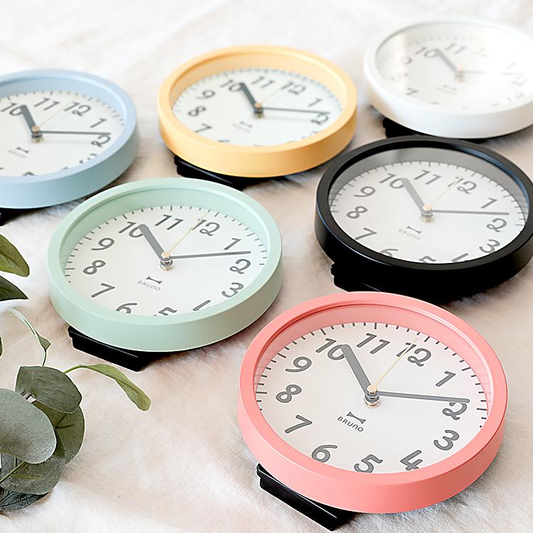 掛け時計 ブルーノ 電波2WAYジョイフルクロック【掛け時計 壁掛け時計 置き時計 両用 兼用 ナチュラル おしゃれ かわいい 小さめ アナログ 時計 デザイン シンプル ポップ 新生活 北欧 テイスト コンパクト】