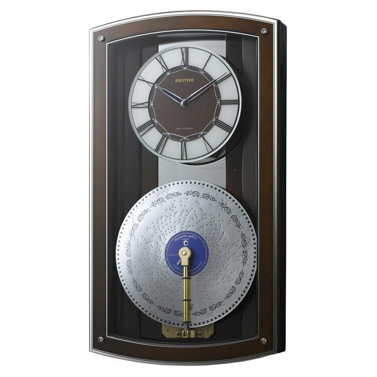 電波時計 プライムオルガニートN 4MN531HG06 リズム時計【掛け時計 掛時計 時計 おしゃれ 壁掛け オルゴール ディスクオルゴール 電波 壁掛け電波時計 壁掛け時計 ラクジュアリー 高級 報時 モダン ウォールクロック 壁時計】